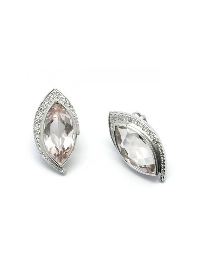 0e8176701 Náušnice AU 585/1000 př. Beryl-Morganit+př. Diamant 3,28gr OPTIMA DIAMANT  JO2228004
